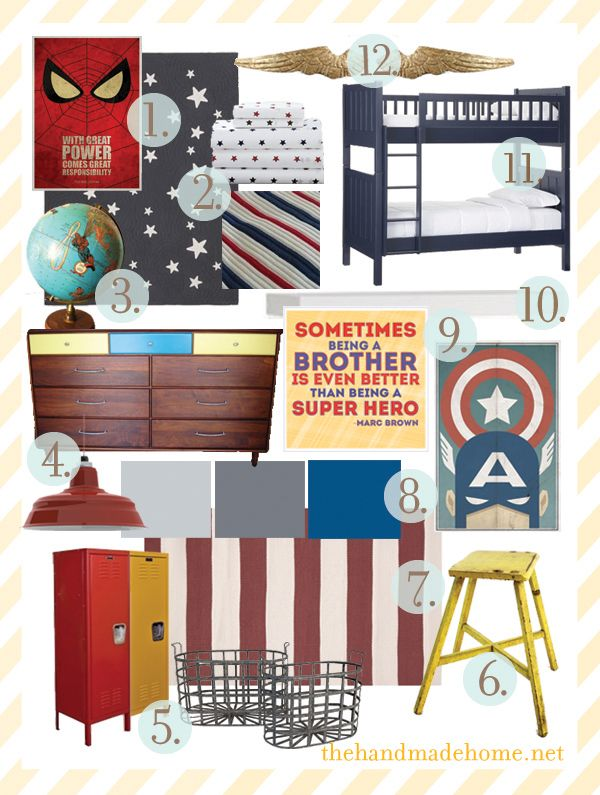 If Jordan doesn't like Star Wars when he gets older, he's totally getting a Super Hero room based on this mood board. There's a great idea for the closet too. #thehandmadehome