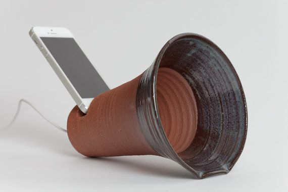Ready to ship. Stoneware iPhone docking station, Pottery phone docking station, ceramics and pottery, gramophone, speakers, battery free! on Etsy, $30.00