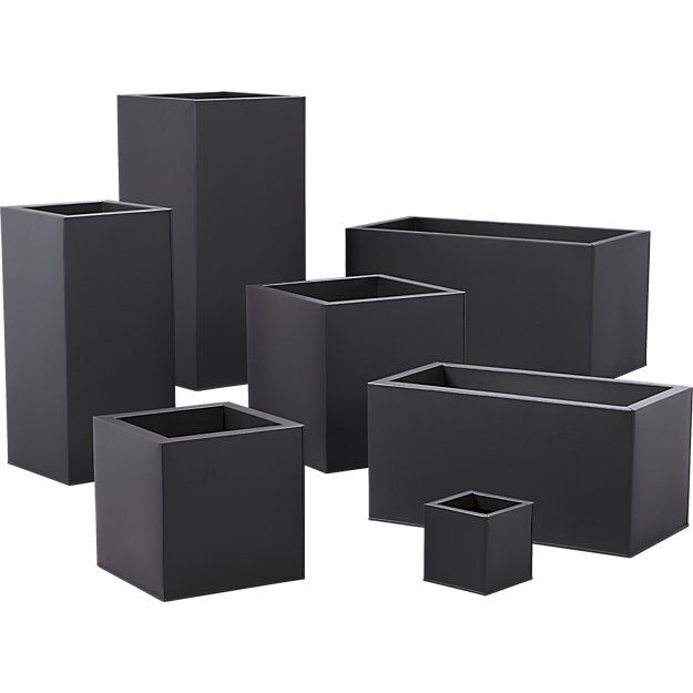 Shop blox tall galvanized charcoal planters. Charcoal planter squares up sleek and modern. Protected for indoor and outdoor settings, matte-finished galvanized steel plays up refined industrial to dramatic effect.