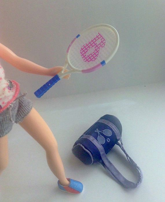 Doll Tennis Racket and Tennis Bag doll by GirlySuppliesDeJaVu