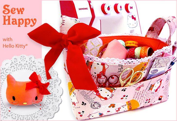 sewing basket and pincushion: Sewing Baskets, Fabrics Sewing, Bags Tutorials, Bags Pattern, Sewing Caddy, Sewing Machine, Kitty Pincushions, Hello Kitty, Kitty Sewing