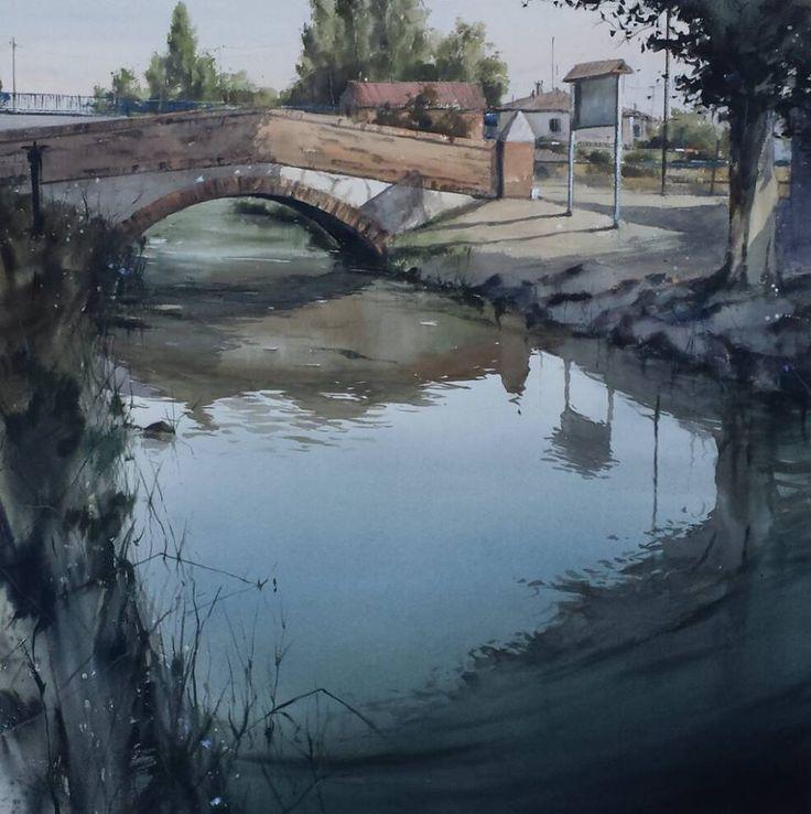 Pablo Rubén López Sanz--1° Premio XXXIV Certamen de Pintura Rápida Laguna de Duero (Valladolid) (1st Prize XXXIV Fast Painting Contest of Laguna de Duero)  Acuarela/Watercolor 100 x 100 cm