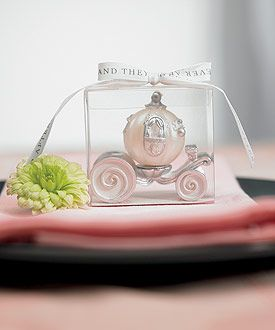 Cinderella Wedding Carriage Candle  as favors for weddings   can be engraved.  ordered from canada