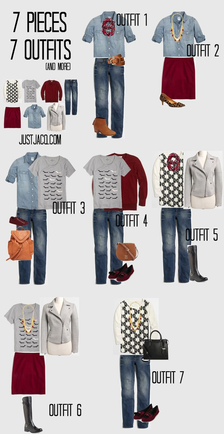 7x7 Outfit Challenge! Create 7 outfits from 7 pieces (plus 8 bonus outfits)! www.justjacq.com