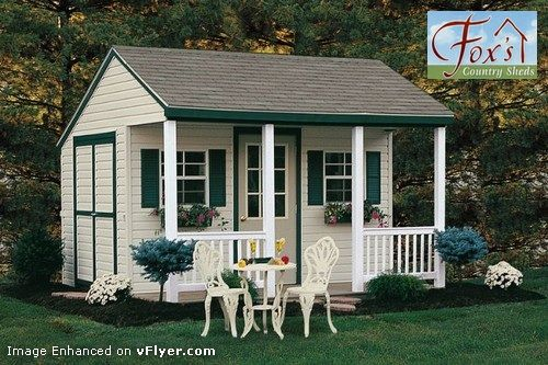 How cute is the front porch on this shed?!?!  Cabana Garden Shed