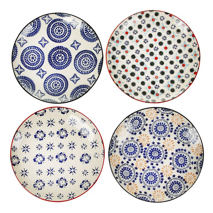 Bring stunning prints to the dinner table with this set of Mosaic plates from Pols Potten. Beautifully hand painted, these ceramic plates feature classic multi-coloured mosaic inspired designs. Per...