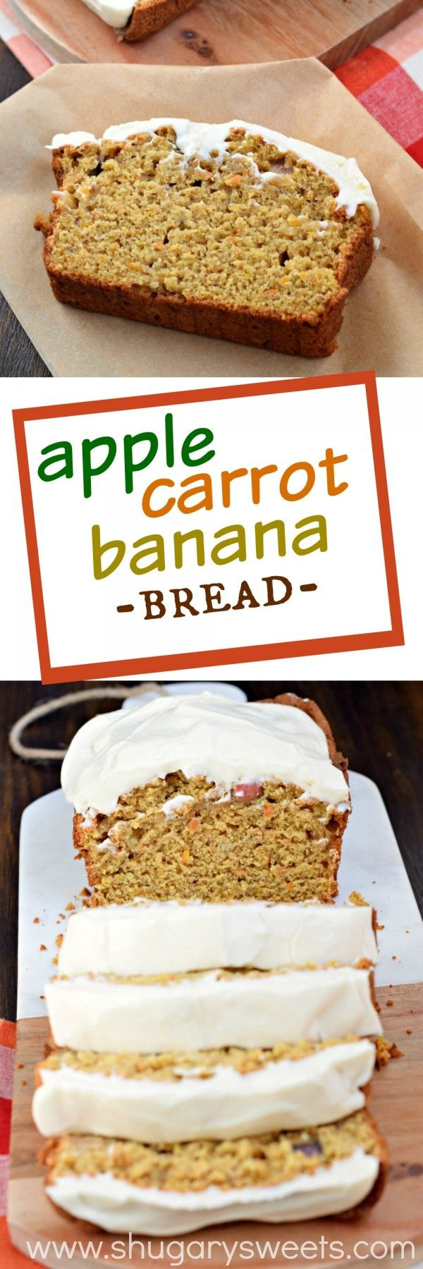 As if this Apple Banana Carrot Bread wasn't sweet enough, adding the cream cheese frosting takes this bread recipe to a whole new delicious level!
