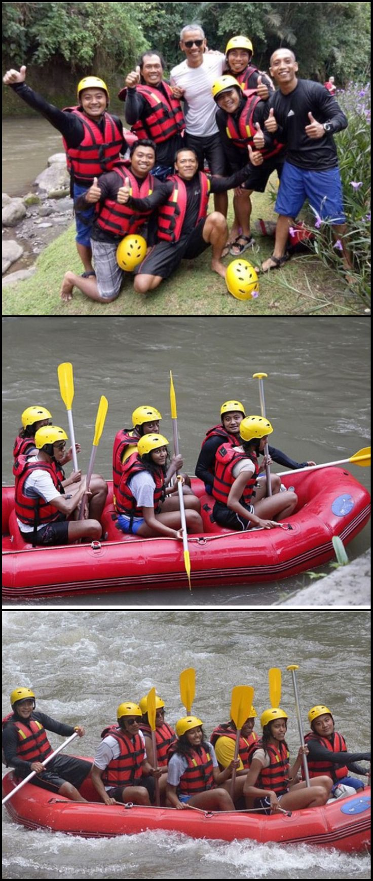 #TheObamas go #rafting at #BongkasaVillage in #Badung on #Baliisland #Indonesia #June26th #2016 #TheObamas #FamilyVacation #His #Mother Side Of The #Family Barack Obama lived there in the 1960s after his mother Ann Dunham married second husband Lolo Soetoro, a native #Indonesian #44thPresident #BarackObama #FirstLady #MichelleObama #MaliaObama #SashaObama #ObamaFamily #ObamaGirls #ObamaLegacy #ObamaHistory #ObamaLibrary #ObamaFoundation Obama.org