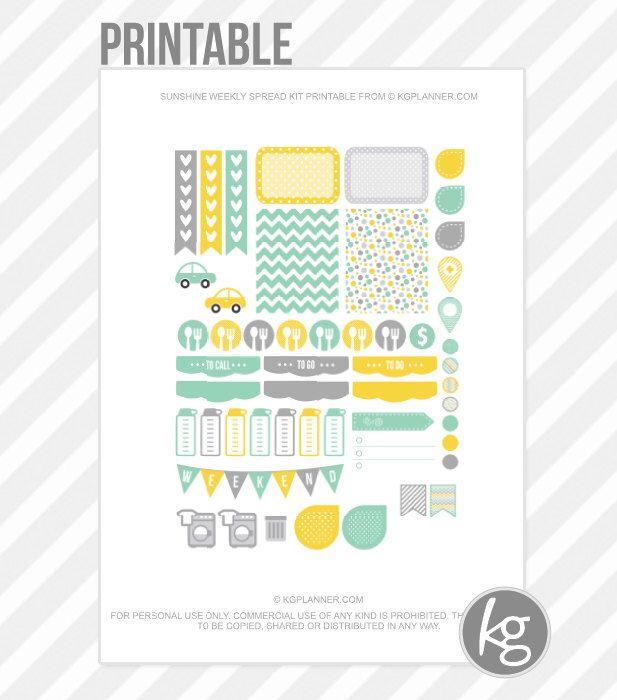 Sunshine Weekly Spread Kit PDF PRINTABLE Planner Stickers for Erin Condren Planner, Filofax, Plum Paper by KGPlanner on Etsy https://www.etsy.com/listing/223949194/sunshine-weekly-spread-kit-pdf-printable