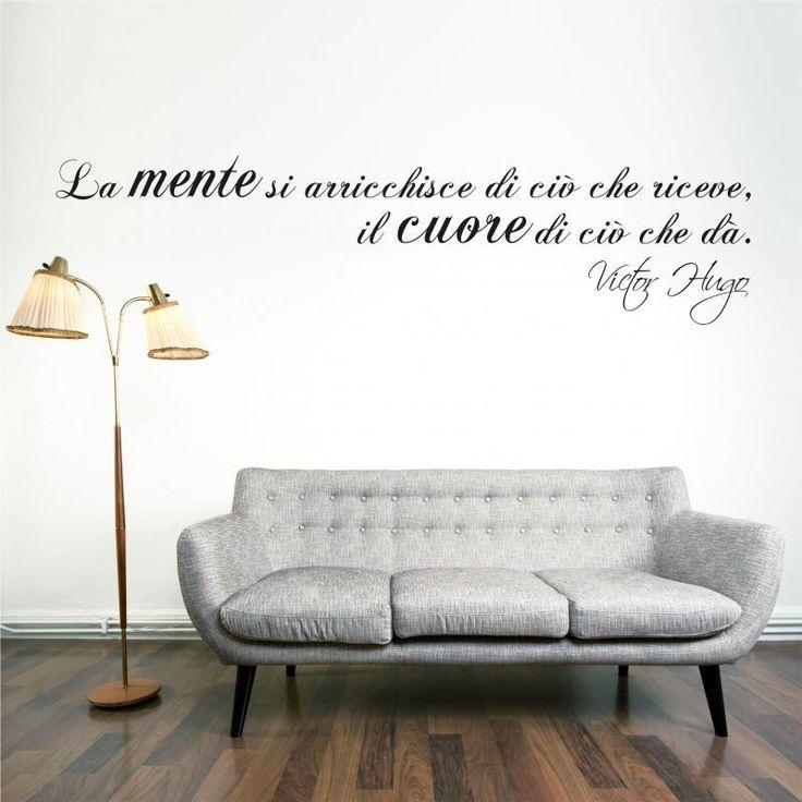 """Adesivi da parete Victor Hugo """"La mente si arricchisce di ciò che prende.."""" Adesivo da parete Vinyl Wall Stickers Decals"""