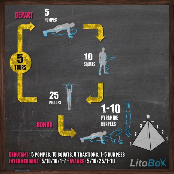 Entraînement type #CrossFit du 27/01 : pompes, squats, tractions et pyramide burpees ! http://www.litobox.com/wod-27-01-2014