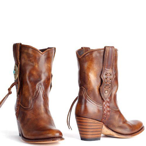 Sendra booties bruin Laly deep cuoio met franjes 11970