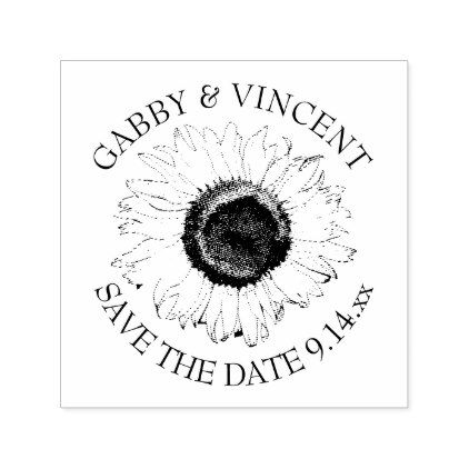 Black and White Sunflower Wedding Save the Date Self-inking Stamp