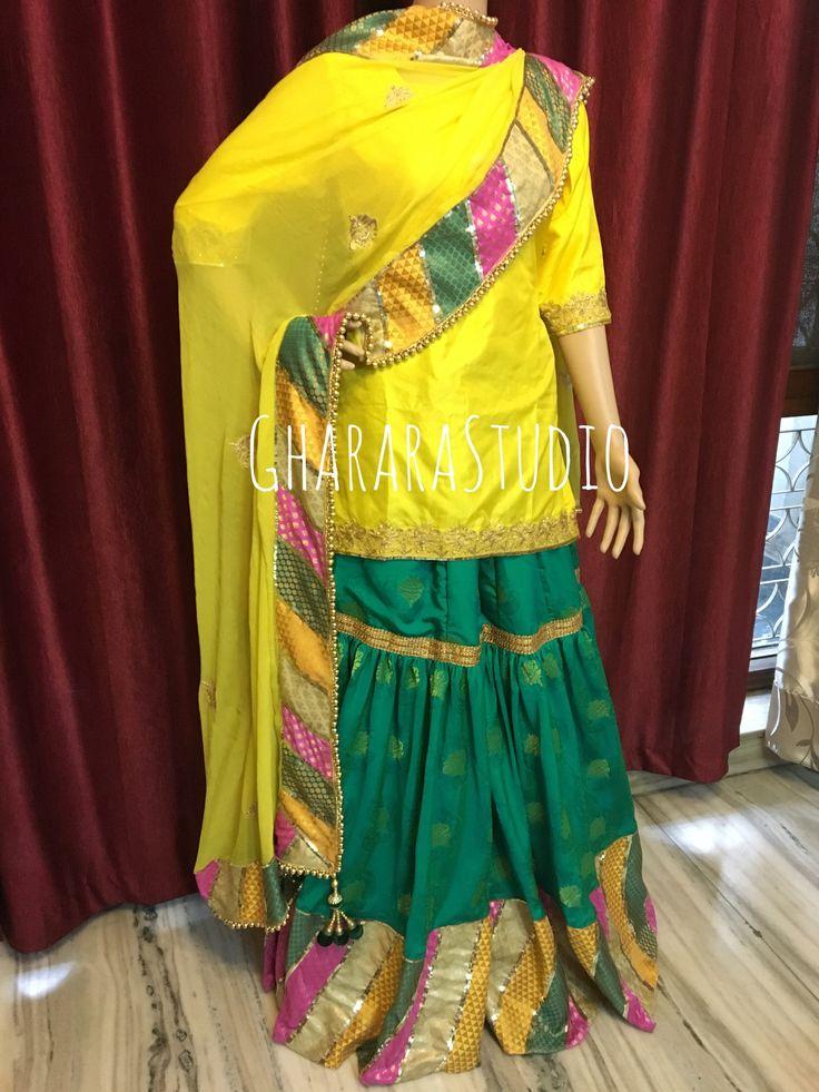 Chatapati Gharara in Green & Yellow.  Manjha Gharara.  WHATSAPP TO ENQUIRE - 9971865919  Whatsapp at 9971865919 to discuss.  #gharara #ghararastudio #ghararastudiobyshazia #georgettegharara #georgette #ghararah #ghararas #ghararalove #ghararasale #fashionblogger #instafashion #fashiongirl #fashiongram #fashiondiaries #bridalgharara #partygharara #ghararafashion
