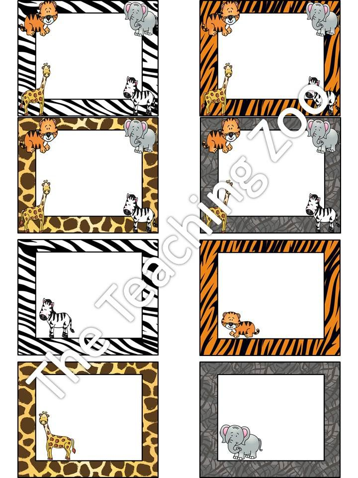 Editable Zoo Animals Name Tags Amp Labels Jungle Safari