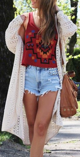 southwestern tee/tank, denim shorts, and a long sweater