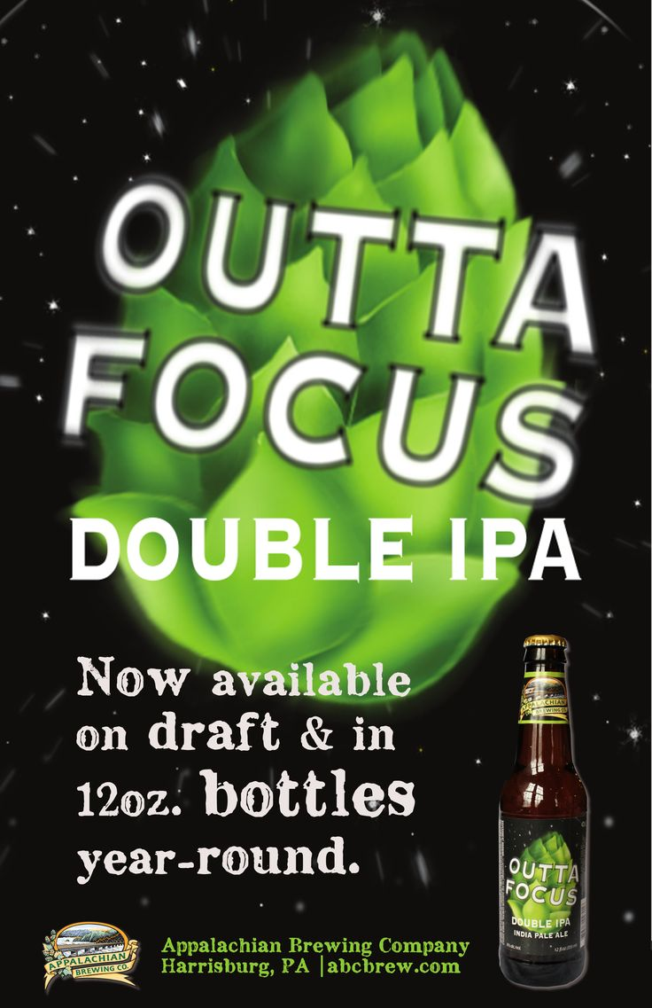 OG: 18 | FG: 3.2 | ABV: 8% | IBUs: 80  Available year round on draft and in 12oz. bottles.  Outta Focus Double IPA is brewed in the true Pacific Northwest style, featuring expansive amounts of Pilgrim, Millenium, Styrian and Cascade hops. Pleasingly bitter, floral and complex, our brewers take this beer to the next level with generous dry-hop additions of Amarillo hops. #craftbeer #pabeer #doubleIPA