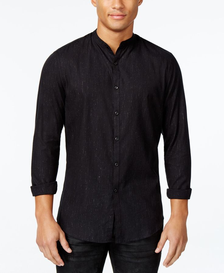 Inc International Concepts Men's Metallic Banded-Collar Shirt, Only at Macy's