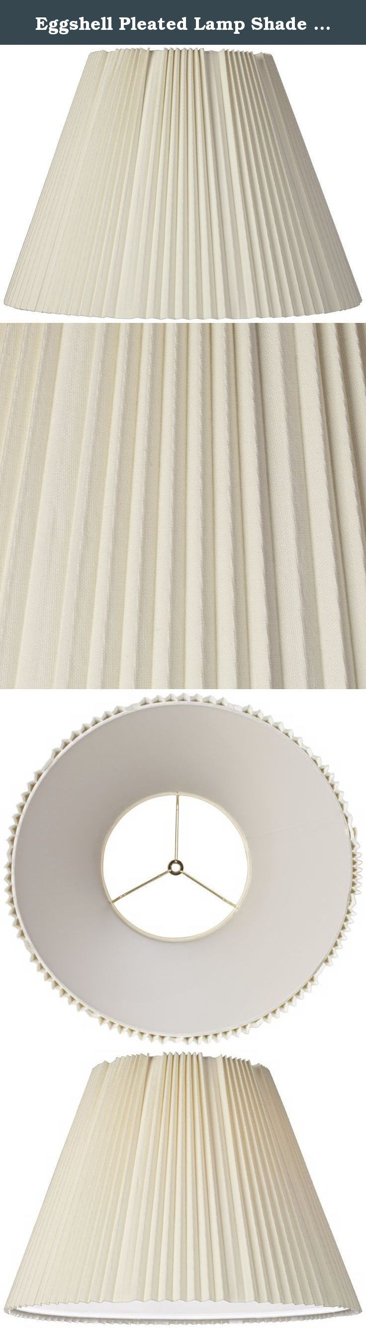 """Eggshell Pleated Lamp Shade 9x17x12.25 (Spider). A traditional lamp shade featuring detailed knife pleats. Delicate eggshell color creates a soft glow. A perfect touch for your home decor. Spider fitting. Polished brass finish spider. The correct size harp is included free with this shade. - Eggshell colored shade. - Cotton and polyester blend fabric. - Unlined. - Spider fitting. - Knife pleating, - Polished brass finish spider. - From the Brentwood collection of lamp shades. - 9"""" across…"""