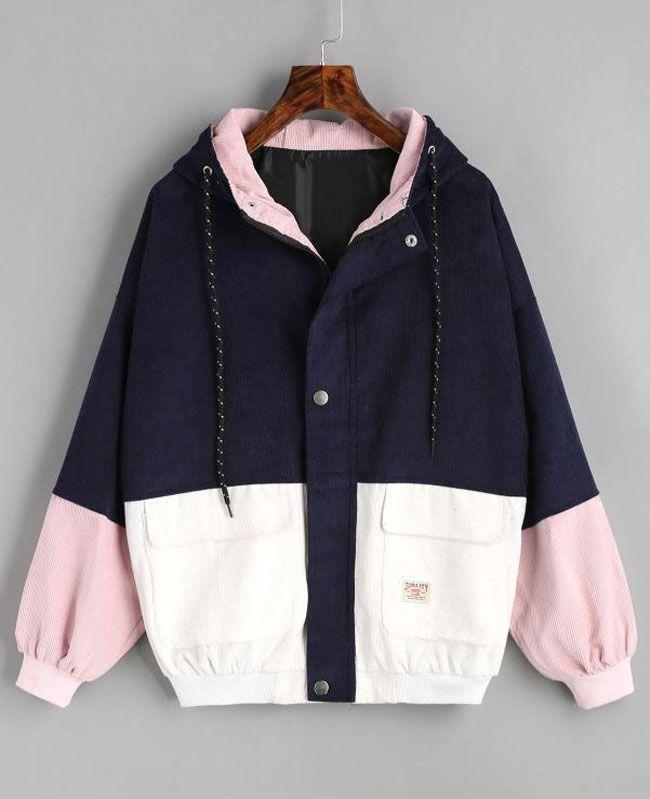 Oversize Zipper Corduroy Patchwork Jacket