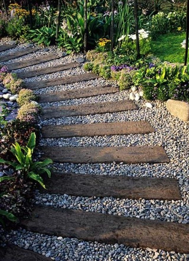 Railway sleeper garden path | Could be lovely in the front yard from sidewalk to RV carport, allowing grass/sedum and mulch to fill in-between the ties.