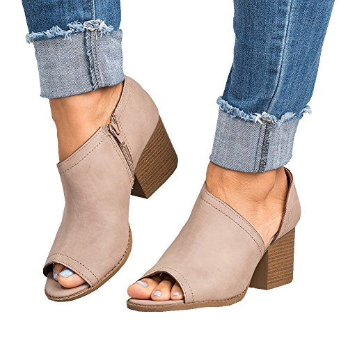 bda40f76783a  26.92 Women Low Heel Ankle Booties Slip On Vegan Suede Leather Cut Out  Chunky Block Stacked Peep Toe Ankle Boots Shoes