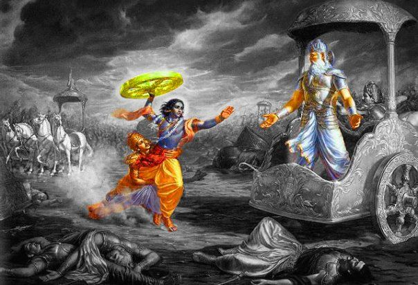 """A truly epic moment in the Mahabharat -a war between the Pandavsand Kauravs, the battle that takes place in our own minds ona daily basis.  As Bhishma was about to kill Arjuna with his arrows, Lord Krishna threw down the chariot reins and jumped off the chariot onto the battlefield, lifted a chariot wheel and charged Bhishma. Arjuna tried to stop Lord Krishna, but the Lord said, """"In order to protect my devotee, I must break my promise to use weapons."""