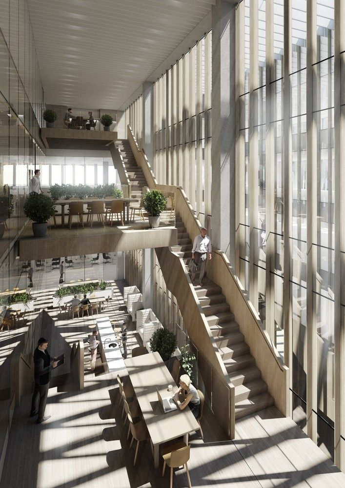 Designs Unveiled for New Australian Embassy in Washington DC,View North of Atrium Hub spaces. Image Courtesy of Bates Smart