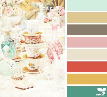tea partyTeas For Two, Colors Combos, Design Seeds, Tea Parties, Colors Palettes, Colors Schemes, Colours Palettes, Parties Colors, Teas Parties