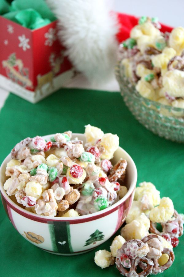 Kids Cooking Recipe: Reindeer Treats (puffcorn, pretzels, peanuts and m's covered with almond bark) - can be made anytime of the year!!!