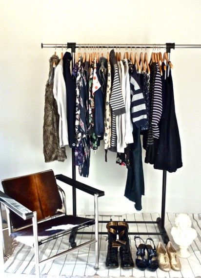 We're inspired by @Erin Loechner of the blog Design for Mankind to use a clothing rack to pull pieces for the week we want to mix and match. Merchandising for your wardrobe!