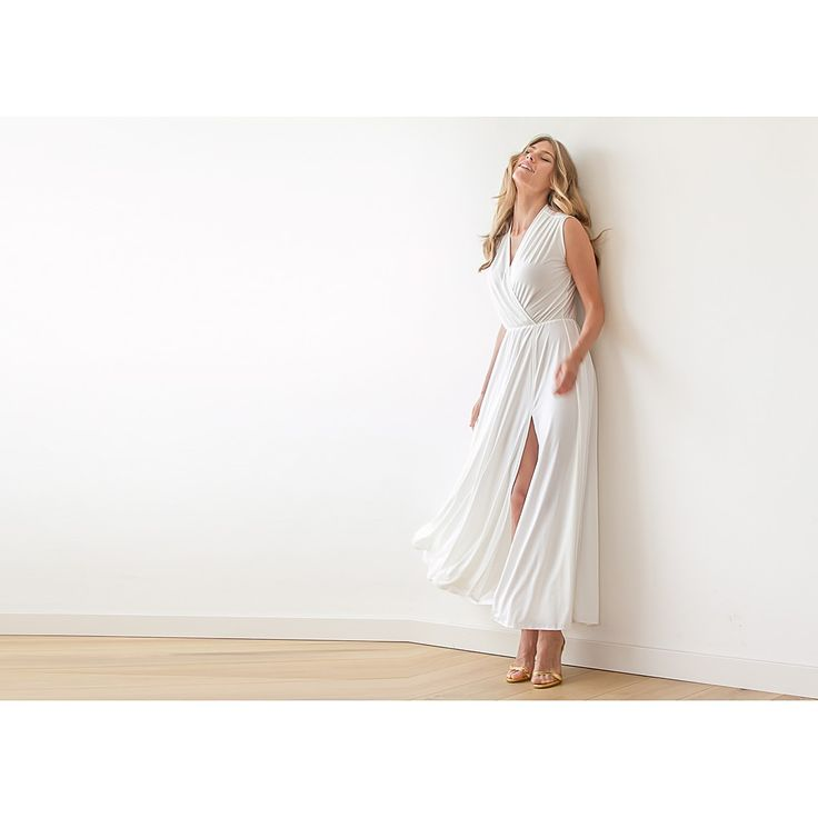 Ivory wrap gown, Maxi ivory dress with wide skirt , Beach wedding simple dress