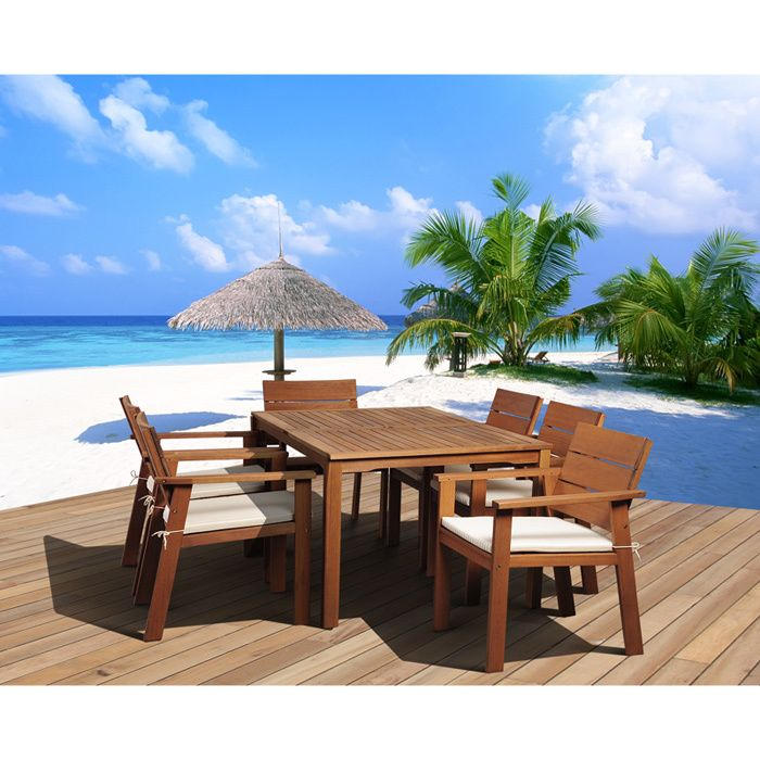 Great quality, stylish design patio sets, made of eucalyptus wood. The Albany Dining Set is a masterpiece of design and comfort. The Patio furniture is suitable to be left outdoors all year round with proper maintenance.