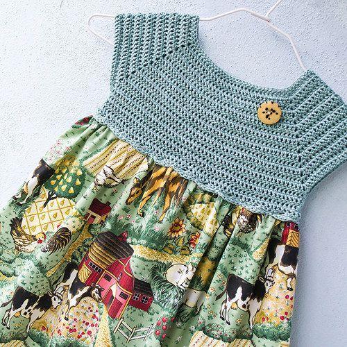 "Dívčí šatičky ""Farma"" [] #<br/> # #Girls #Dresses,<br/> # #Crochet #Patterns,<br/> # #Farms,<br/> # #Work,<br/> # #Barbie,<br/> # #Crochet,<br/> # #Sew,<br/> # #Tissue,<br/> # #Buy<br/>"