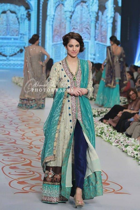 Love the colours! Mint green, teal & royal blue! Nida Azwer Collection At Pantene Bridal Couture Week 2014 009