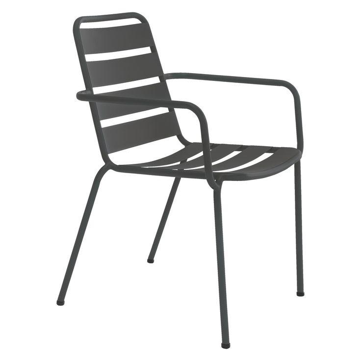 VIENA Black stackable metal garden armchair HABITAT
