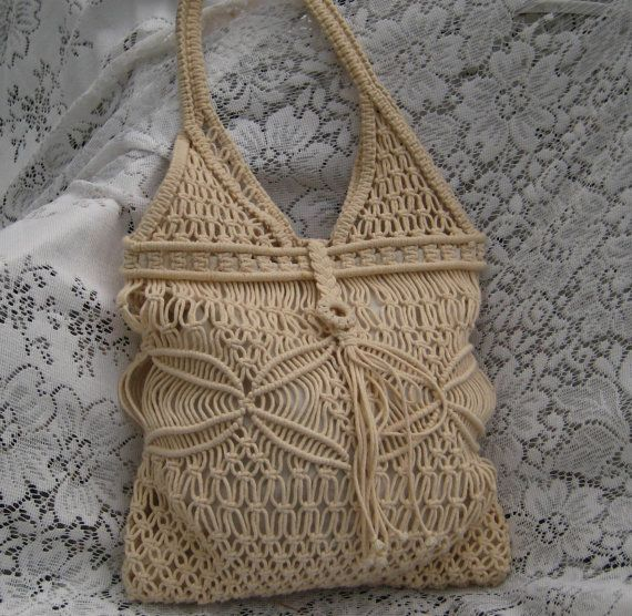 Vintage Cream Macrame Purse by EndlesslyVintage on Etsy, $18.00