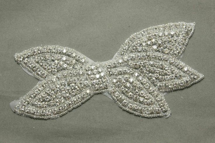 Crystal Rhinestone Bow Applique Wedding Bridal Glass Iron on Applique Patch