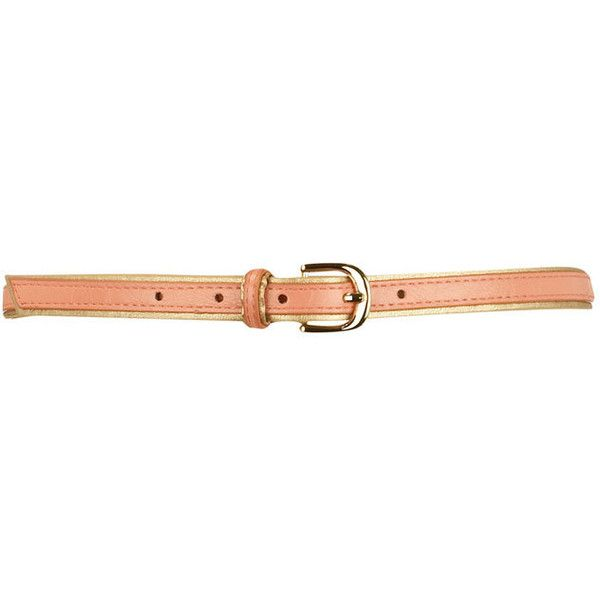 Coral/gold piped skinny belt (21 BRL) ❤ liked on Polyvore featuring accessories, belts, cintos, cinturones, home accessories, gold belts, coral skinny belt, coral belt, skinny belts and thin gold belt