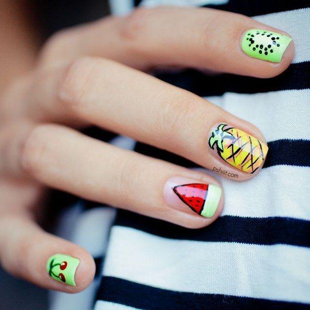 fruit salad nails!  28 Colorful Nail Art Designs That Scream Summer