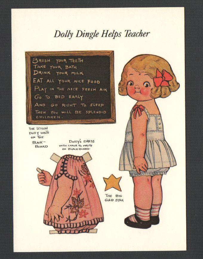 Dolly Dingles Paper Dolls Postcard