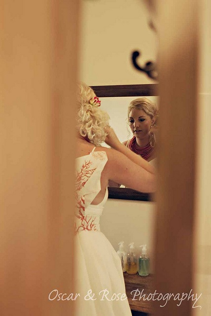 """bride getting ready. Almost as if you are """"peeking in"""""""
