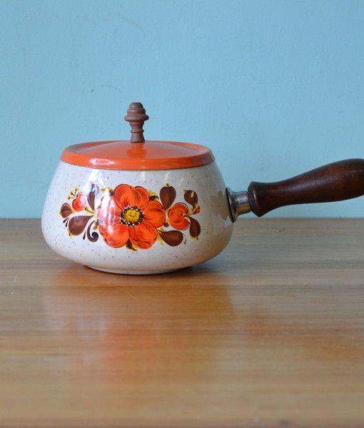 Mid century  Saucepan pan  orange flowers