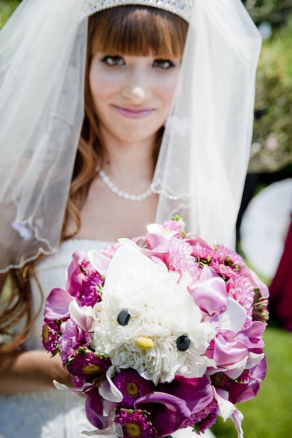 Hello Kitty face in wedding bouquet