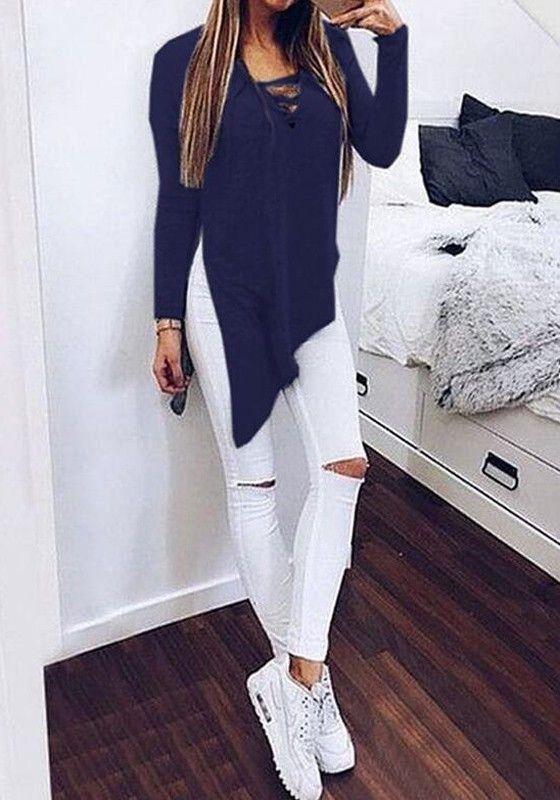 Dark Blue Plain Irregular Long Sleeve Streetwear Cotton T-Shirt