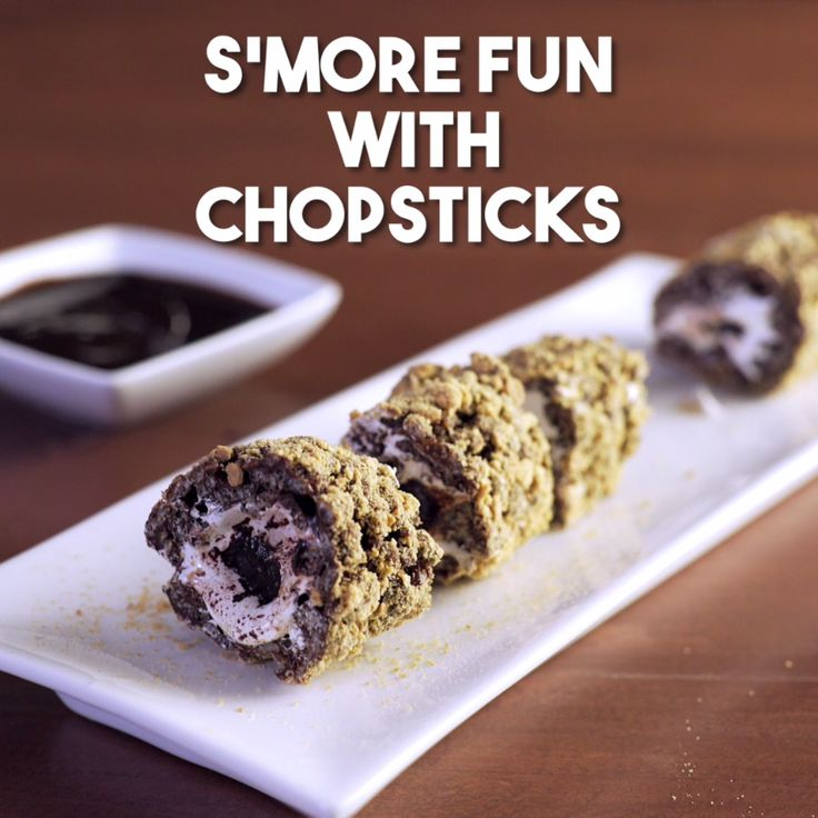 Dessert is s'more fun with chopsticks! Here's a new twist on your fave camping treat - Sushi Smores!