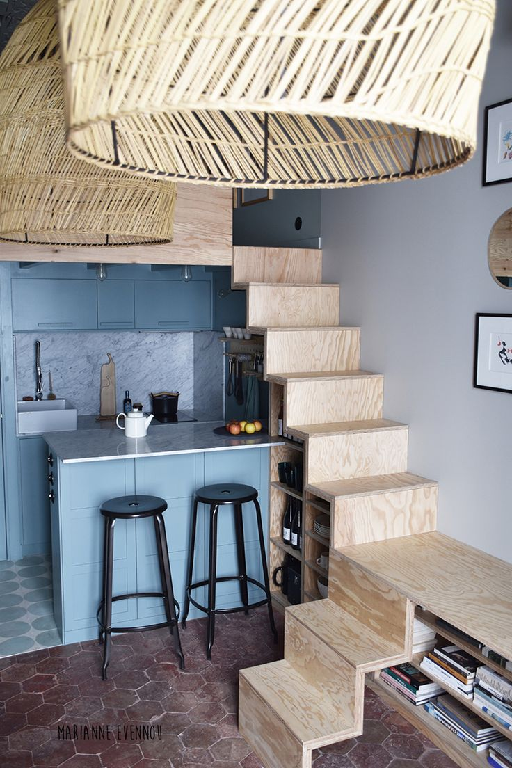 Agencement astucieux petit espace, escaliers contreplaqué | Paris Saintonge, Marianne Evennou, 25m2