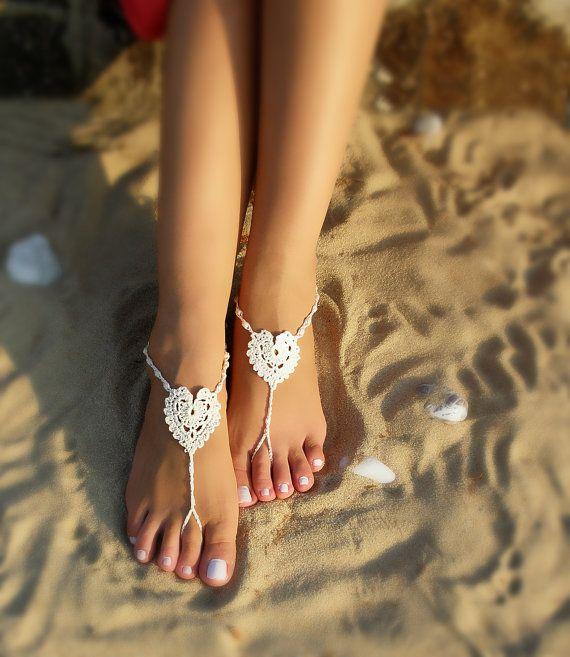Heart barefoot sandals White crochet barefoot sandal by Bryleens