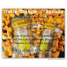 Recipes for your Sinchies reusable food pouches - Nutty mango and banana www.sinchies.com