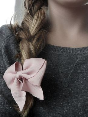 Feminine side braid topped off with pink bow…so pretty...
